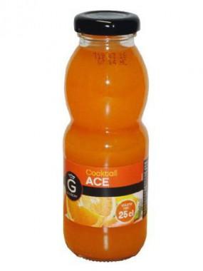 Jus de fruits Orange, fruit de la passion, citron et carotte, 25 cl.